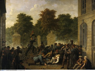 Constantin-Fidèle Coene (1779–1841), Attaque du parc de Bruxelles en septembre 1830, Öl auf Leinwand; Bildquelle: Musées Royaux des Beaux-Arts de Belgique, Brüssel, © Bildagentur für Kunst, Kultur und Geschichte (bpk), Photograph: Reinhard Friedrich, Bildnummer: 00007724.