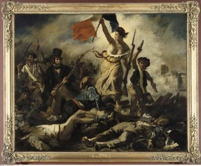 Eugène Delacroix (1798–1863), La Liberté guidant le peuple (Die Freiheit führt das Volk), Öl auf Leinwand, 325 × 260 cm, Frankreich, 1830; Bildquelle: Musée du Louvre, Paris, © Bildagentur für Kunst, Kultur und Geschichte (bpk), Photograph/Agentur: RMN, Bildnummer: 00057447.