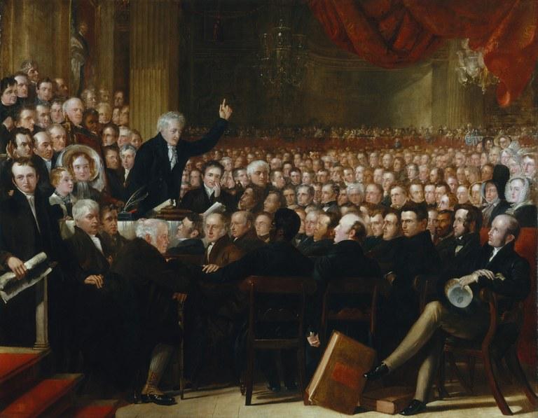 Benjamin Robert Haydon (1786–1846), The Anti-Slavery Society Convention, Öl auf Leinwand, 2972 mm x 3836 mm, 1840; Bildquelle: National Portrait Gallery, London.