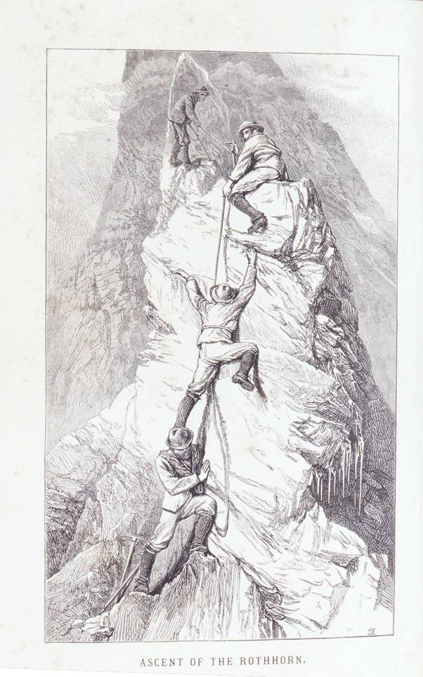 Edward Whympers (1840–1911) Aufstieg zum Rothorn, Holzstich, um 1871, unbekannter Künstler; Bildquelle: Stephen, Leslie: The Playground of Europe, London 1871 (Frontispiz), Exemplar des Deutschen Alpenvereins, Inv.-Nr. AM 93/112.