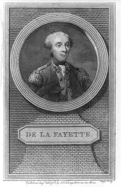 Portrait Gilbert Du Motier, Marquis de Lafayette (1757–1834), Kupferstich, Großbritannien 1785, Angus sculp, Published by J. Fielding, Pater-noster Row, 1785 Augt. 26; Bildquelle: Andrews, John: History of the war with America, France, Spain, and Holland: commencing in 1775 and ending in 1783, London 1785–1786, vol. 2, S. 422, Library of Congress, Prints and Photographs Division, http://www.loc.gov/pictures/item/2003689173/.