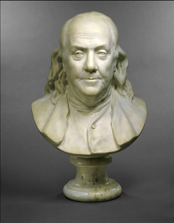 Jean-Antoine Houdon (1741–1828), Porträtbüste Benjamin Franklin (1706–1790), Marmor, 57,2 cm, Frankreich, 1778; Bildquelle: Metropolitan Museum of Arts, http://www.metmuseum.org/toah/works-of-art/72.6.