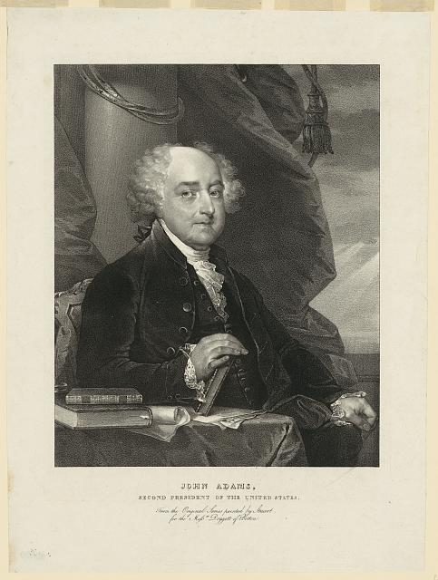 Portrait John Adams (1735–1826), Lithographie nach einem Gemälde von Gilbert Stuart (1755–1828), USA, ca. 1825–1828, Antoine Maurin (1793–1860); Bildquelle: Library of Congress, Prints and Photographs Division, http://www.loc.gov/pictures/item/2003677111/.