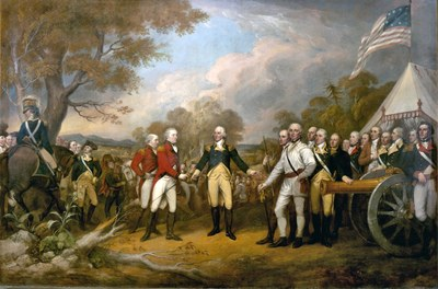 John Trumbull (1756–1843), Die Kapitulation des Generals Burgoyne bei Saratoga, Öl aus Leinwand, 365.76 cm x 548.64 cm, 1821; Bildquelle: United States Architect of the Capitol, http://www.aoc.gov/cc/photo-gallery/images/70227_hr.jpg.