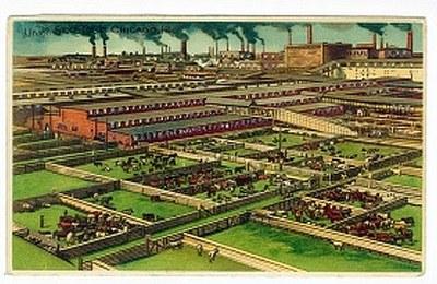 Joseph Koehler: Union Stock Yards, Chicago, Farbpostkarte, 1942; Bildquelle: Chicago Postcard Museum, Nr., 2406L, www.ChicagoPostcardMuseum.org.