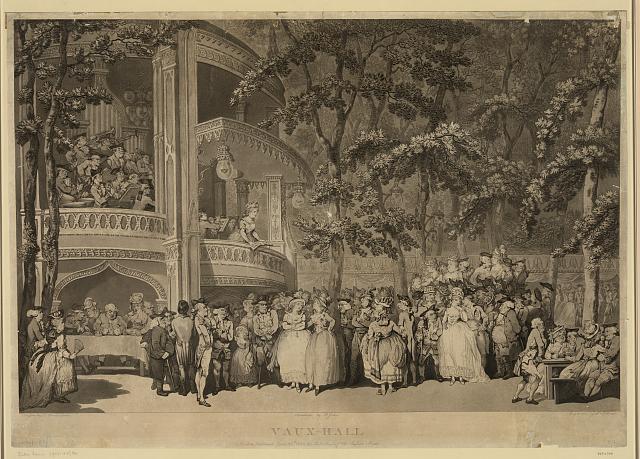 Vaux-Hall, Druck eines Aquatinta und Stichs nach einer Zeichnung von Thomas Rowlandson (1756–1827), Kupferstecher: Robert Pollard (1755–1838), Aquatinta: Francis Jukes (1745–1812), London: Published by J. R. Smith 1785; Bildquelle: Library of Congress, Prints and Photographs Division, Digital ID: (digital file from original print) pga 03193 http://hdl.loc.gov/loc.pnp/pga.03193.