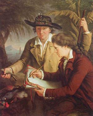 John Francis Rigaud (1742–1810), Johann Reinhold und Georg Forster in Tahiti, o. J. [zwischen 1775–1780]; Bildquelle: Privatbesitz [wikimedia commons, http://commons.wikimedia.org/wiki/File:Forsterundsohn.jpg?uselang=de.]