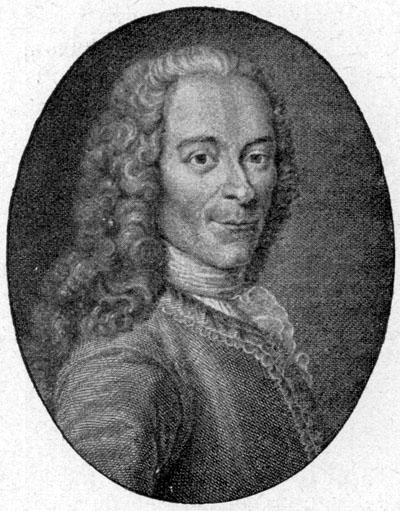 Portrait Voltaire [eigentlich: François Marie Arouet] (1694–1778), Kupferstich, o. J., unbekannter Künstler; Bildquelle: Müller-Baden, Emanuel (Hg.): Bibliothek des allgemeinen und praktischen Wissens zum Studium und Selbstunterricht in den hauptsächlichsten Wissenszweigen und Sprachen, Berlin 1905, vol. 5, S. 36, wikimedia commons, http://commons.wikimedia.org/wiki/File:Voltaire_oval.jpg.