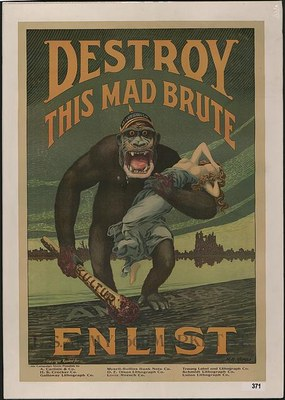 Destroy this mad brute - Enlist - U.S. Army, Lithographie, 106 x 71 cm, ca. 1917, Künstler: Harry R. Hopps; Bildquelle: Library of Congress Prints and Photographs Division, Reproduction Number: LC-DIG-ds-03216, http://hdl.loc.gov/loc.pnp/ds.03216, gemeinfrei.
