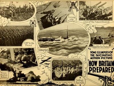 How Britain Prepared, Werbeanzeige aus The Moving Picture World, 1916; Bildquelle: Wikimedia Commons, https://en.wikipedia.org/wiki/File:How_Britain_Prepared.jpg, gemeinfrei.