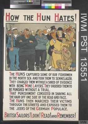 How the Hun Hates, Lithographie, 754 x 511 mm, 1915, Künstler: Wilson, David & W F B, Druckerei: Dangerfield Printing Co. Ltd; Bildquelle: © IWM (Art.IWM PST 13551), http://www.iwm.org.uk/collections/item/object/38221, IWM Non Commercial Licence, http://www.iwm.org.uk/corporate/privacy-copyright/licence.
