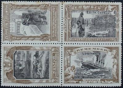 Anti-German propaganda labels, Sammelmarken, 1915, Ersteller: Winox; Bildquelle: Wikimedia Commons, https://commons.wikimedia.org/wiki/File:1915_Anti-German_propaganda_labels_by_Winox._Sinking_of_Lusitania_etc.jpg, gemeinfrei.