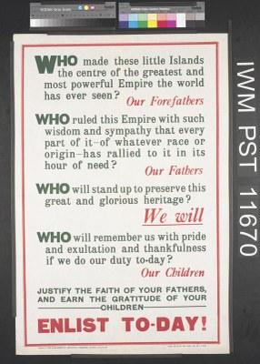 Who Made These Little Islands..., Flugblatt, 758 x 511 mm, 1915, Herausgeber: PARLIAMENTARY RECRUITING COMMITTEE; Bildquelle: © IWM (Art.IWM PST 11670), http://www.iwm.org.uk/collections/item/object/30462, IWM Non Commercial Licence, http://www.iwm.org.uk/corporate/privacy-copyright/licence.