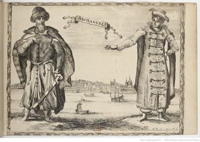 Archangel'sk um 1670: Traditionelle Kostüme und Stadtansicht