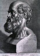 Peter Paul Rubens (1577–1640): Hippokrates von Kos (um 460–370 v. Chr.), Kupferstich nach einer Skulptur von P. Pontius, undatiert; Bildquelle: National Library of Medicine, http://ihm.nlm.nih.gov/images/B14555.