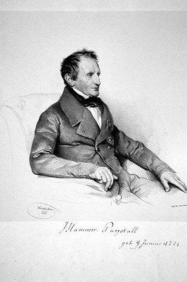 Josef Kriehuber (1774–1856), portrait of Joseph von Hammer-Purgstall (1774–1856), lithography (photographic reproduction), 1843, photographer: Peter Geymayer; source: private collection, wikimedia commons, http://commons.wikimedia.org/wiki/File:Hammer_Purgstall.jpg, public domain.