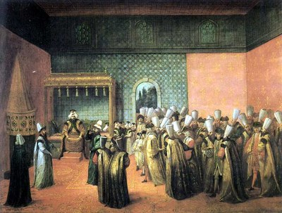 Jean-Baptiste van Mour (1671–1737), Reception of the French ambassador, Vicomte Jean-Baptiste Louis Picon D'Andrezel (1663–1727), by Sultan Ahmed III (1673–1736), 1724, oil on canvas; source: Musée des Beaux-Arts, Bordeaux, © Musée des Beaux-Arts.