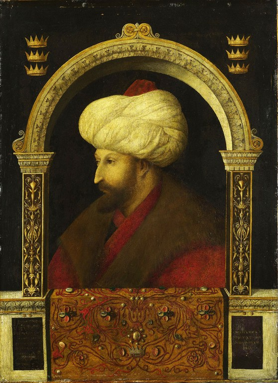 Gentile Bellini (c. 1429–1507), portrait of Mehmed II (1432–1481), 1480, oil on canvas, 69,9 × 52,1 cm; source: National Gallery London, © National Gallery London, http://www.nationalgallery.org.uk/paintings/attributed-to-gentile-bellini-the-sultan-mehmet-ii.