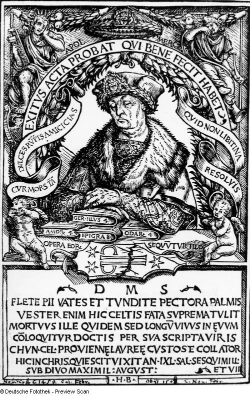 Hans Burgkmair d.Ä. (1473–1531), Portrait von Konrad Celtis (1459–1508), Holzschnitt, 1507; Bildquelle: SLUB Dresden, Deutsche Fotothek (http://www.deutschefotothek.de), Permalink: http://www.deutschefotothek.de/obj70252455.html.