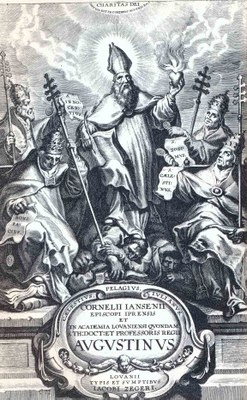 """Titelseite von Cornelius Jansens """"Augustinus"""", Löwen 1640, unbekannter Künstler; Bildquelle: Wikimedia Commons, http://en.wikipedia.org/wiki/File:Augustinus.jpg, gemeinfrei."""