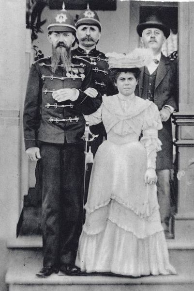 Wedding portrait of a member of the K.N.I.L. and his Indian bride, black and white photograph, c. 1905, unknown photographer; source: Tropenmuseum of the Royal Tropical Institute (KIT) Amsterdam, wikimedia commons, http://commons.wikimedia.org/wiki/File:COLLECTIE_TROPENMUSEUM_Huwelijksportret_van_een_militair_van_het_KNIL_met_zijn_Indische_bruid_TMnr_60001238.jpg  Creative Commons Attribution-Share Alike 3.0 Unported license.