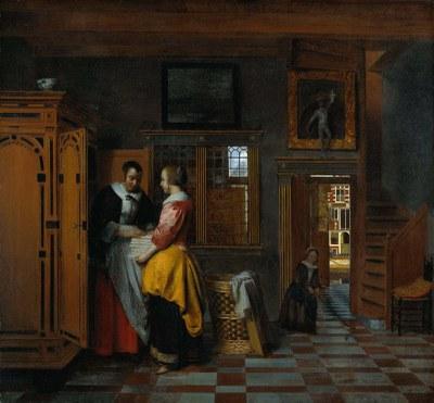 Pieter de Hooch (1629–1683), Am Wäscheschrank, Öl auf Leinwand, 70 cm x 75, 5 cm, 1663; Bildquelle: © Rijksmuseum, Amsterdam.