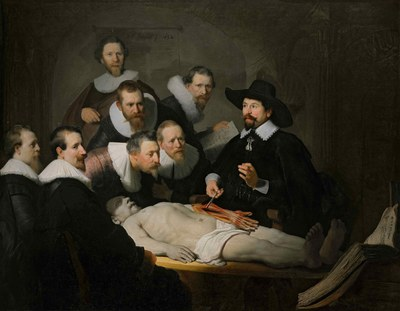 Rembrandt Harmenszoon van Rijn (1606–1669), Die Anatomie des Dr. Tulp, Öl auf Leinwand, 169,5x216,5 cm, 1632, inv. nr. 146; Bildquelle: © Königliche Gemäldegalerie Mauritshuis, Den Haag, http://www.mauritshuis.nl.