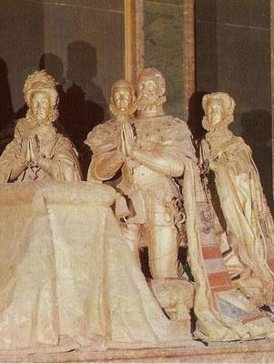 Pompeo Leoni (1533–1608), Philipp II. und seine Familie, vergoldete Bronze, 1598, Real Sitio de San Lorenzo de El Escorial, Farbphotographie, unbekannter Photograph; Bildquelle: Wikimedia Commons, http://commons.wikimedia.org/wiki/File:Cenotafio_de_Felipe_II_y_su_familia.jpg