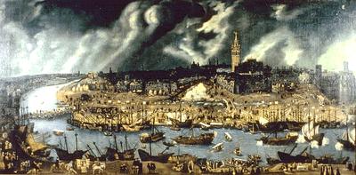 Alonso Sánchez Coello (1515-1590), Vista de la ciudad de Sevilla, Öl auf Leinwand, um 1580; Bildquelle: Mit freundlicher Genehmigung des Museo de América Madrid.