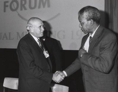 Frederik de Klerk und Nelson Mandela in Davos 1992