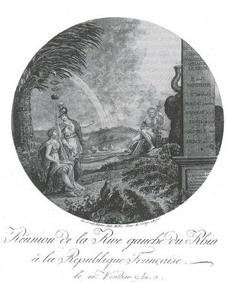 Harter, Samuel / Müller, Nikolaus (1770–1851):  Réunion de la Rive gauche du Rhin à la Republique Francaise le 18 Ventôse An 9, Kupferstich, nach 1801; Bildquelle: Wikimedia Commons, http://de.wikipedia.org/wiki/Datei:Reunion1792.jpg. Creative Commons Attribution ShareAlike 3.0 Germany.