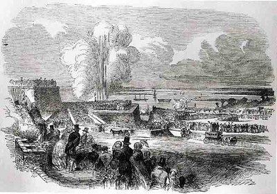 Belagerungsoperationen in Chatham – Zündung einer Mine, Holzstich, undatiert, unbekannter Künstler; Bildquelle: Illustrated London News, 22. Juli 1854.