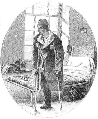 Szene im Militärhospital von Haslar, Holzstich, undatiert, unbekannter Künstler; Bildquelle: Illustrated London News, 3. Februar, 1855.