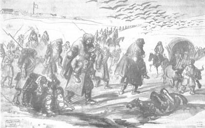 Constantin Guys (1802–1892), Türkische Hilfstruppen tragen die kranken britischen Soldaten nach Balaklava, Aquarell, 1854; Bildquelle: Privatsammlung.