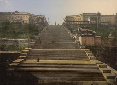 Wahrzeichen der Stadt: Potemkinsche Treppe in Odessa, ca. 1890–1900