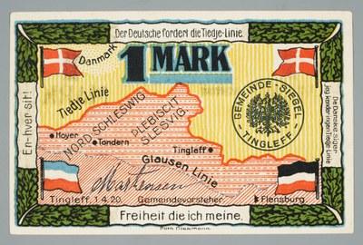 Eine-Mark-Schein mit Clausen- und Tiedje-Linie, Buchdruck, 70 x 109 mm, 1920, Diekmann, Porth; Bildquelle: Schleswig-Holsteinisches Landesmuseum, https://www.kenom.de/objekt/record_DE-68_kenom_155445/2/, Namensnennung 4.0 Deutschland (CC BY 4.0 DE),https://creativecommons.org/licenses/by/4.0/deed.de.