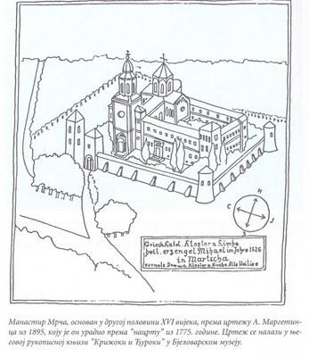 Kopie einer Zeichnung vom Kloster Marča, Zeichnung, 1895, unbekannter Künstler; Bildquelle: Wikimedia Commons, https://commons.wikimedia.org/wiki/File:Marča_Monastery.jpg, gemeinfrei.