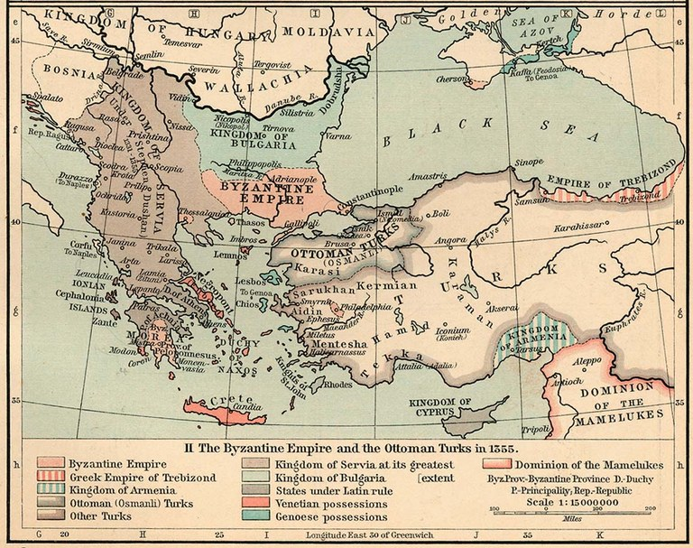 Quelle der Karte: The Historical Atlas by William R. Shepherd, 1911.  Digitalisat: The University of Texas at Austin, http://www.lib.utexas.edu/maps/historical/shepherd/byzantine_empire_1355.jpg