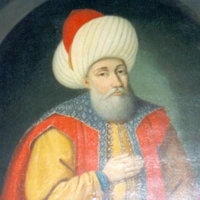 Portrait von Sultan Murad I. (ca. 1325–1389), Wandgemälde im Manyal-Palace-Museum, Kairo, Ägypten, wahrscheinlich vor 1952, unbekannter Künstler, Photographie und Scan: BomBom; Bildquelle: Wikimedia Commons, http://commons.wikimedia.org/wiki/File:Murad_I_-_Manyal_Palace_Museum.JPG, gemeinfrei.