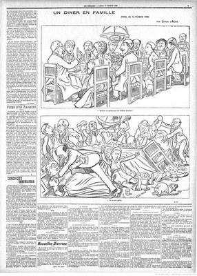 "Caran d'Ache, ""Un Dinner en Famille"", Illustration, in: Figaro: journal non politique, 14. Februar 1898, S. 3; Bildquelle: gallica.bnf.fr / Bibliothèque nationale de France, ark:/12148/bpt6k2842896, http://gallica.bnf.fr/ark:/12148/bpt6k2842896/f3.item, gemeinfrei."