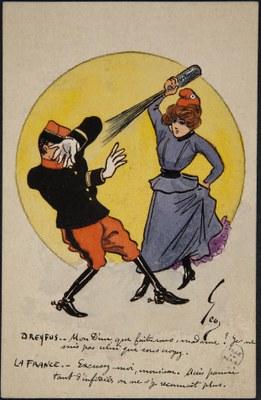 Geo: Dreyfus et la France, Farbdruck, 14 x 9 cm, 1898, Bildquelle: Bibliothèque historique de la Ville de Paris, https://bibliotheques-specialisees.paris.fr/ark:/73873/pf0000984705/0016/v0001.simple.highlight=Keywords:%20%22affaire%20Dreyfus%22.selectedTab=record.