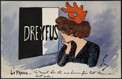 Geo,  La France : ça devrait bien être une fois tout blanc ou tout noir , Farbdruck, 14 x 9 cm, 1898, Bildquelle: Bibliothèque historique de la Ville de Paris, https://bibliotheques-specialisees.paris.fr/ark:/73873/pf0000984705/0021/v0001.simple.highlight=Keywords:%20%22affaire%20Dreyfus%22.selectedTab=record.
