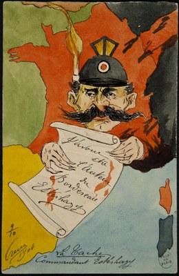 Charles Bonaventure Orens Denizard (1879-1965), La tache. Commandant Esterhazy, Farbdruck, 14 x 9 cm, 1904, Bildquelle: Bibliothèque historique de la Ville de Paris, https://bibliotheques-specialisees.paris.fr/ark:/73873/pf0001491040/0010/v0001.simple.highlight=Keywords:%20%22affaire%20Dreyfus%22.selectedTab=record.