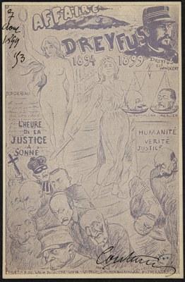 Édouard Couturier (1871 - 1903), Affaire Dreyfus 1894- 1899 l'heure de la justice a sonné, fotomechanischer Druck, 14 x 9 cm, 1899; Bildquelle: Bibliothèque historique de la Ville de Paris, https://bibliotheques-specialisees.paris.fr/ark:/73873/pf0001112263/0001/v0001.simple.selectedTab=record, gemeinfrei.