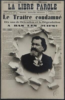 Le Traitre condamné, 1894, Herausgeber: Edouard Drumont, Bildquelle: La Libre Parole, unter Ville de Paris, https://bibliotheques-specialisees.paris.fr/ark:/73873/pf0001071767/0008/v0001.simple.highlight=Keywords:%20%22affaire%20Dreyfus%22.selectedTab=record, gemeinfrei.