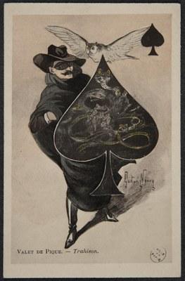 Gaston Noury (1865 - 1936), Valet de Pique. Trahison., Farbdruck, 14 x 9 cm, 1901; Bildquelle: Bibliothèque historique de la Ville de Paris, https://bibliotheques-specialisees.paris.fr/ark:/73873/pf0001017118/0007/v0001.simple.selectedTab=record, gemeinfrei.
