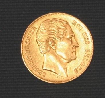 Münze, die Leopold  I., König von Belgien zeigt.