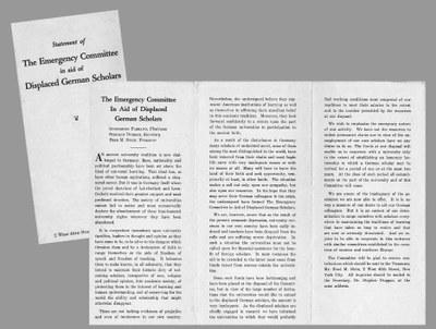 Aufruf des Emergency Committee in Aid of Displaced German Scholars IMG