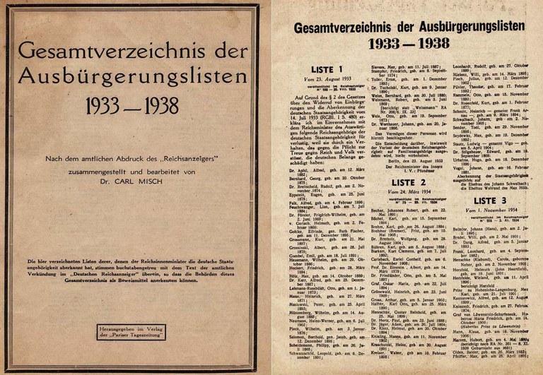 Bildquelle: Gesamtverzeichnis der Ausbürgerungslisten 1933–1938, zusammengestellt und bearbeitet von Carl Misch, Paris 1939, Titelseite und Listen 1–3.