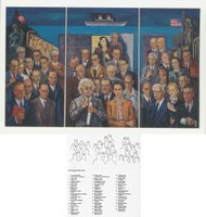 Oben: Arthur Kaufmann (1888–1971), Die geistige Emigration, 1939–1964, Triptychon, Öl auf Hartfaser, 213 x 343 cm; Bildquelle: Kunstmuseum Mülheim an der Ruhr, © VG Bild-Kunst, Bonn 2011.Unten: Arthur Kaufmann (1888–1971), Die geistige Emigration, Identifizierung der Personen und Namen; Bildquelle: Kunstmuseum Mülheim an der Ruhr, © VG Bild-Kunst, Bonn 2011.